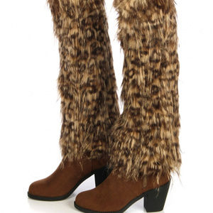 Furry leopard faux fur boot covers leg warmers
